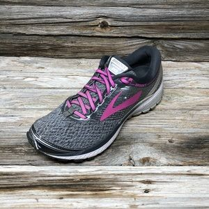 Brooks Women's Ghost 10 Running Shoes Grey Pink